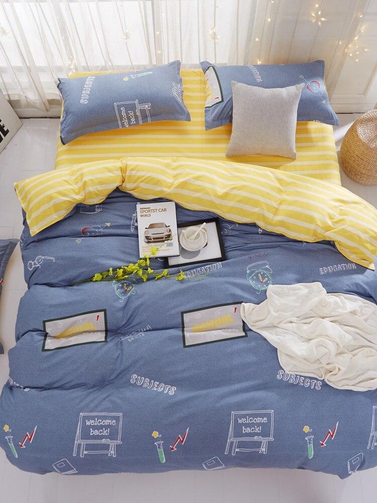 4 Pcs Bedclothes Set Modern School Themed Supple Cozy Bedsheet Set 4 Pcs Bedclothes Set Modern School Themed Supple Cozy Bedsheet Set