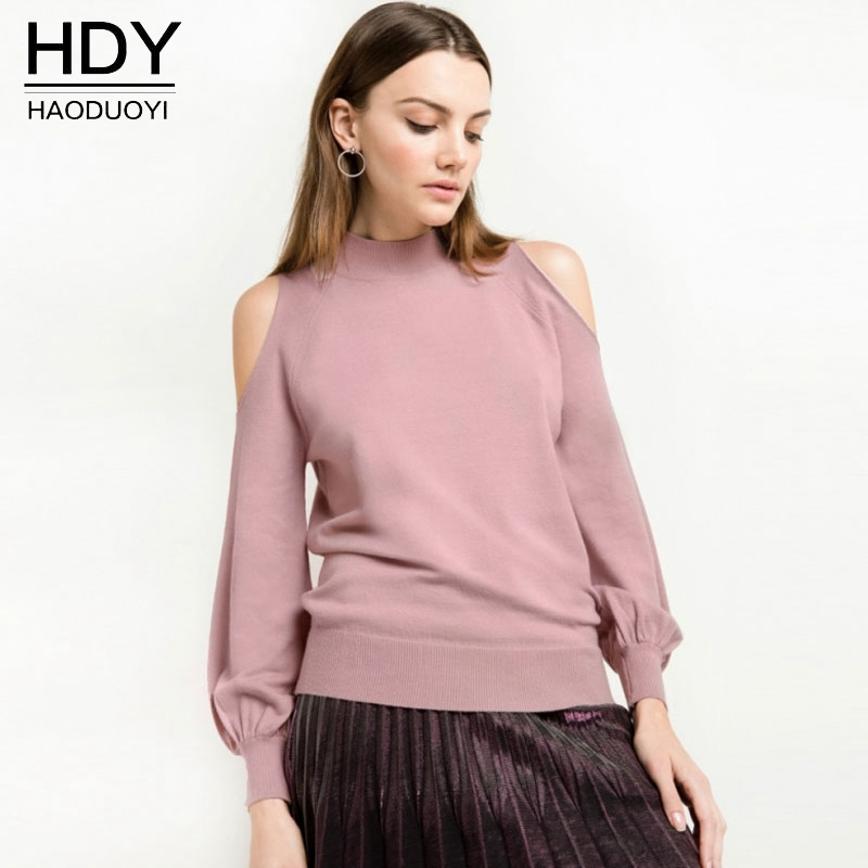 Haoduoyi 2018 New Runway Designer Sweaters Autumn Pullovers Sweet Cut Out Lantern Sleeve Soft Turtleneck Knitted Sweater Women
