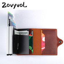 ZOVYVOL Business Aluminum Credit Card Holder Metal Purse RFID Crazy Horse Leather Mini Wallet Security Information Double Box