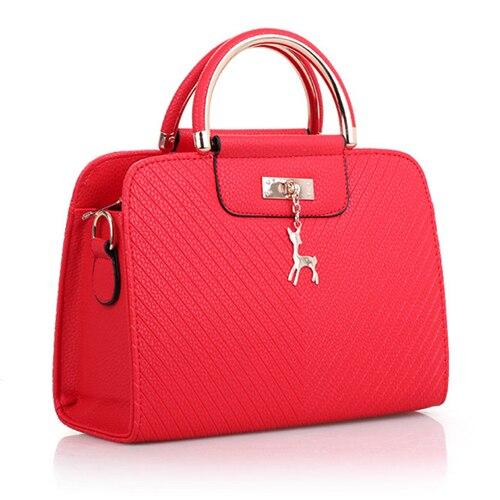 Fashion Handbag 2020 New Women Leather Bag Large Capacity Shoulder Bags Casual Tote Simple Top-handle Hand Bags Deer Decor