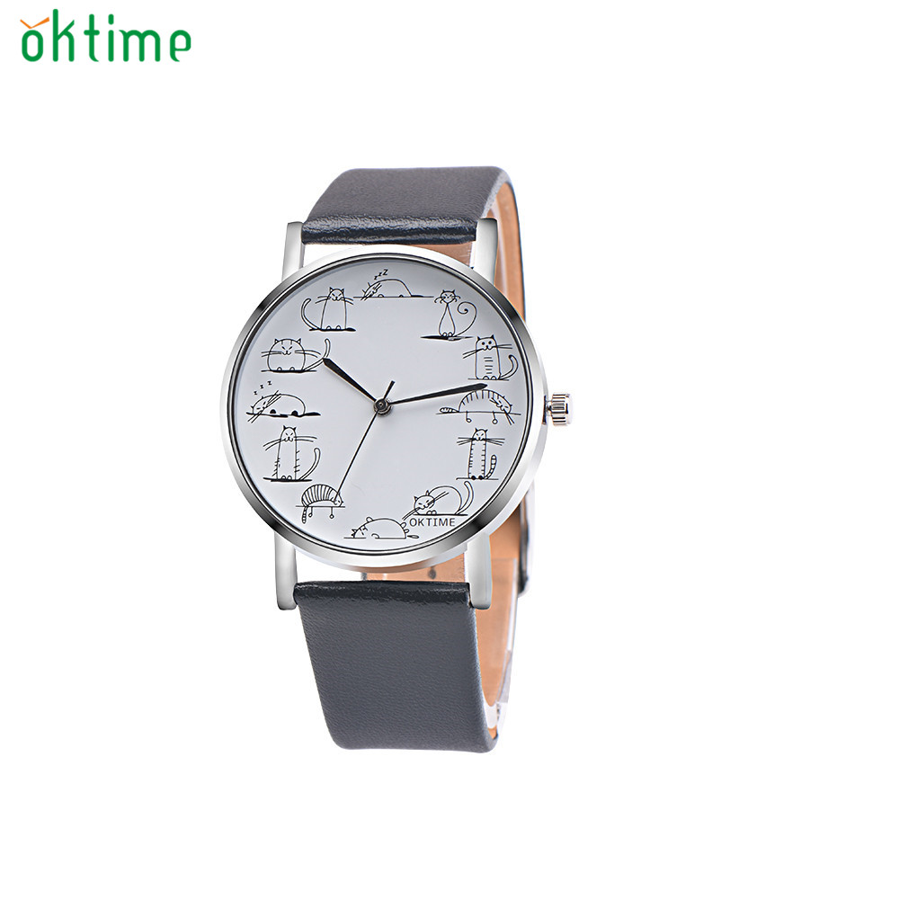 OKTIME Hot Relojes Retro Design Lovely Cartoon Cat Casual Faux Leather Band Analog Alloy Quartz Wrist Watch Levert DropshipD1222 relogio masculino retro design leather band analog alloy quartz wrist watch hot sale dropshipping free shipping m 28