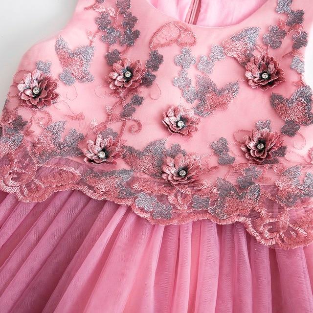 Cielarko Girls Party Dress Formal Flower Girl Wedding Birthday Dresses Sleeveless Tulle Elegant Princess Ball Gown for 2-11 Year