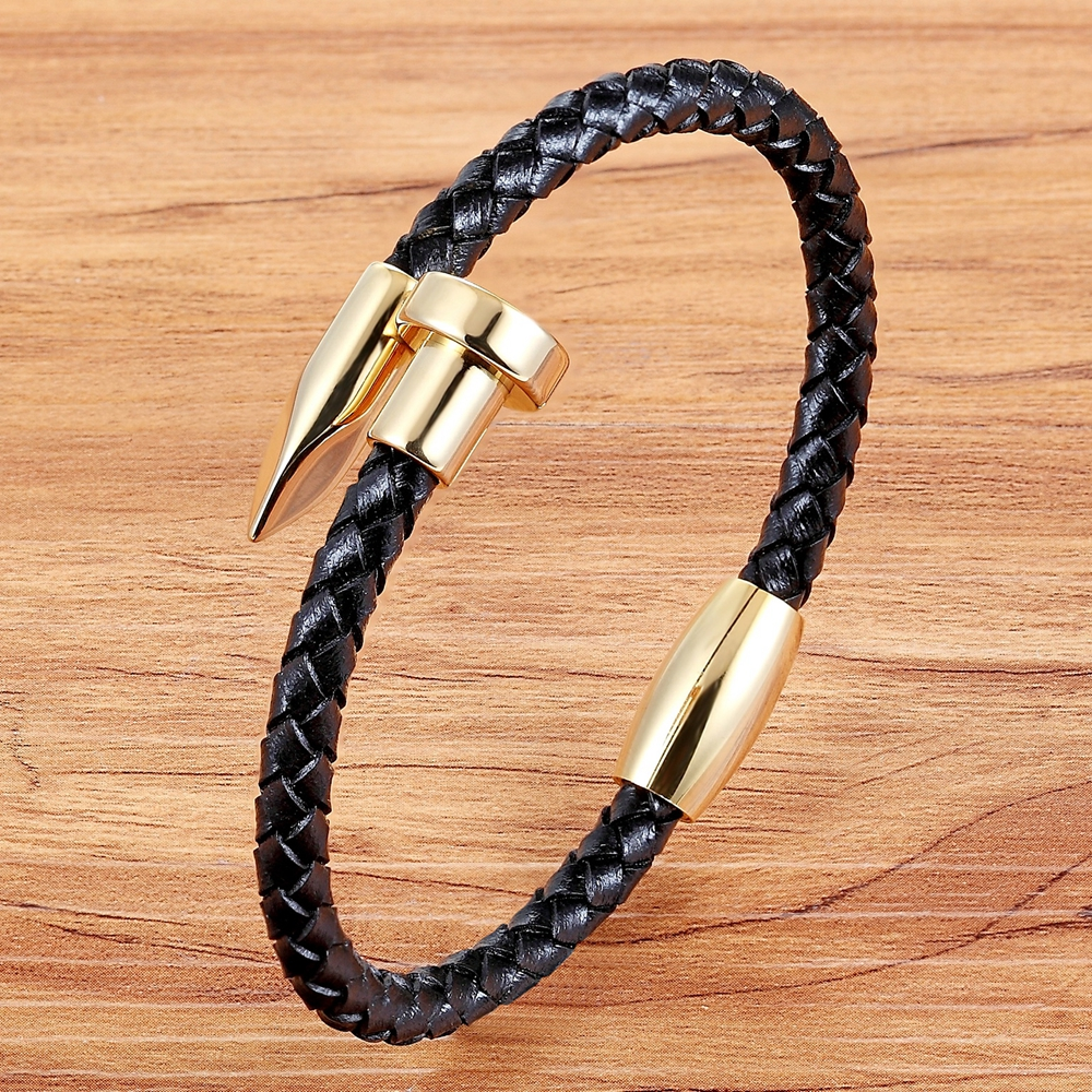 TYO Personality Stainless Steel Nail Punk Men's Watch Genuine Leather Bangle 19/21CM Braide Cuff Bracelet Female Jewelry