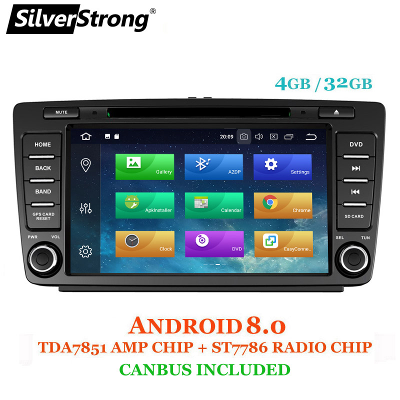 SilverStrong Voiture 2din Octavia Android8.0 8 pouces VOITURE DVD pour Skoda Octavia 2 A5 DSP avec 4g + 32g wifi CANBUS Octavia2 DAB + OBD