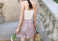 2017 School Of Korean New Chic High Waisted Retro Wind Elastic Waist Straps Lace Wide Leg