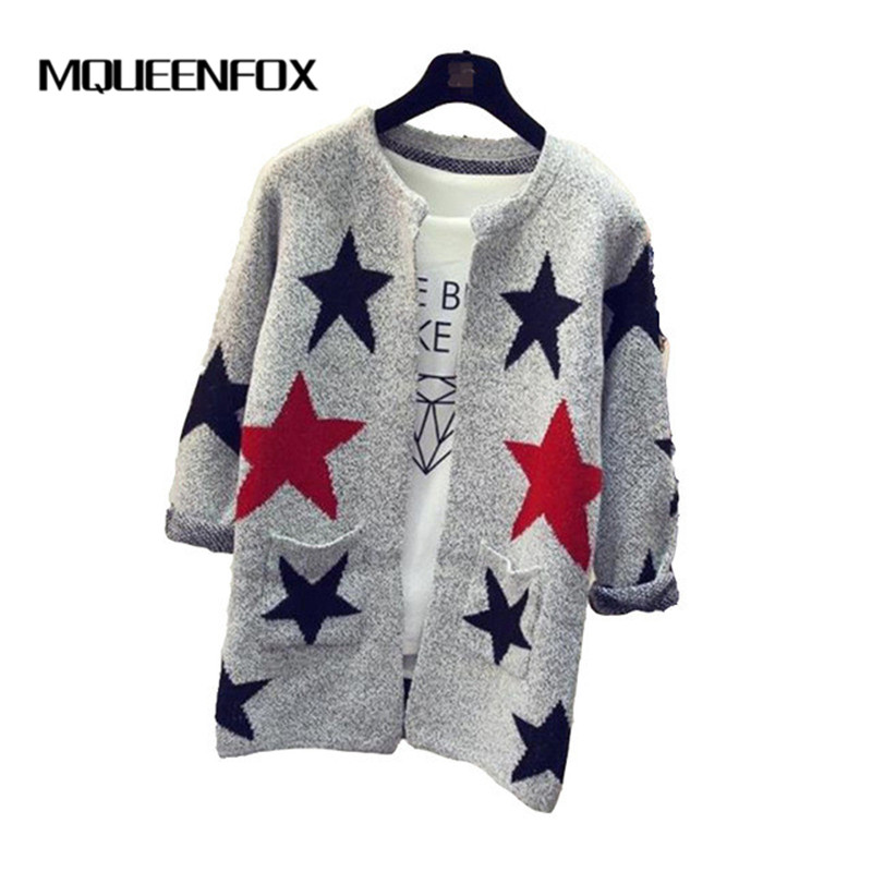 2018 New Women Sweater Star Pattern Cardigans Female Sweaters Fashion Long Sleeve Knitted Slim Women Sweater Cardigan ...