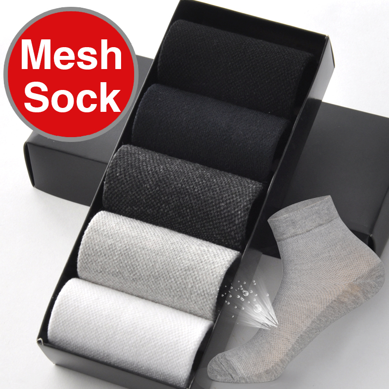 Bendu Brand Guarantee Men Cotton Mesh Thin Socks 5 Pairs / Lot Spring Summer Brethable Anti-Bacterial Deodorant Man Sock