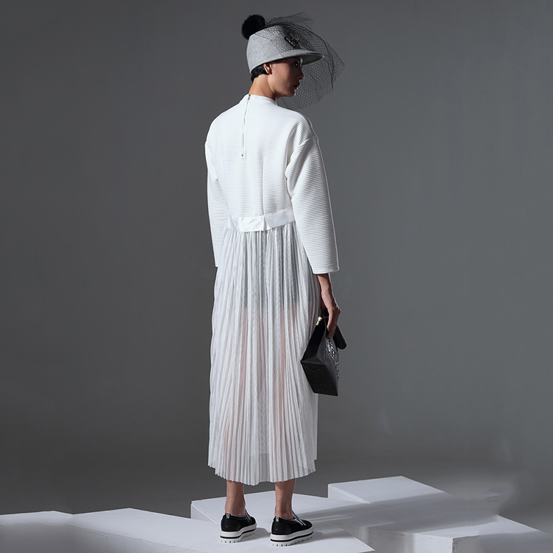 Personnalisation Plissée 2018 Femme Printemps Az550 Mode white Pull Perspective Robe Robes ewq Patchwork Black Pour Mesh Lâche Sexy E4Oqp5q