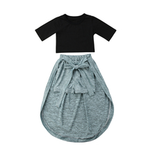 New Fashion Kids Baby Girls Exposed Navel Tops And Short Pants Bow-knot Dress Outfits Clothes Features Stylish