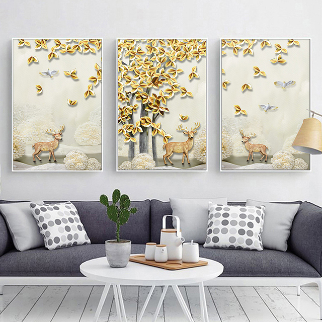 Haochu nordique cerf for t paysage effet de relief toile - Peinture effet relief ...