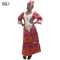 African new design Hot stamping bazin embroidery dresses long gown with scarf two pcs one set