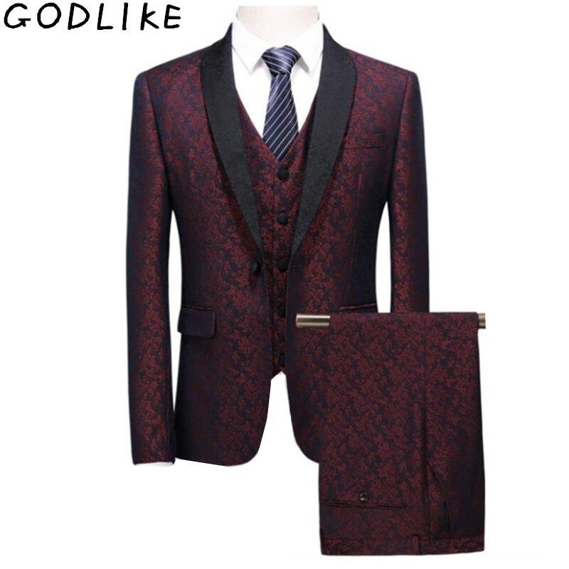 2019 marié Tuxedos rouge fleurs imprimer hommes Slim Fit costume ensemble de bal de mariage costumes meilleur mâle motif Blazer (veste + pantalon + gilet)