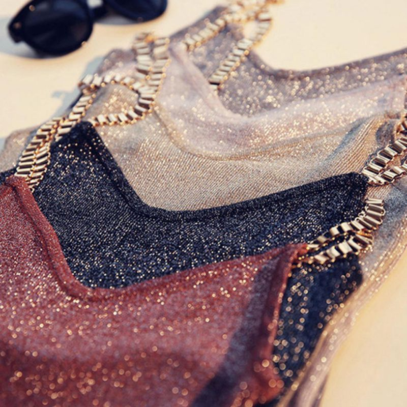2019 Female Tank Tops Sexy Club Women Spaghetti Girl Camisole Metal Strap Sexy V-neck Sweater Thin Bright Mesh Glitter Bling Top