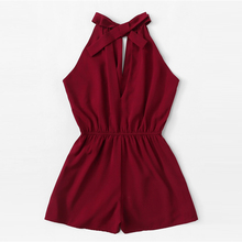 Burgundy Drawstring Waist Sleeveless Jumpsuit
