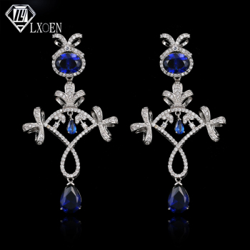 LXOEN Luxury Blue Women Wedding Drop Earrings for Anniversity Romantic Fan Shape Long Earrings Gift Pendientes Jewelry Bijoux image