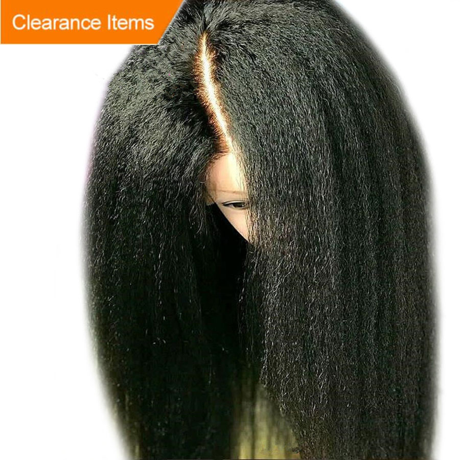 Alice Depp Part 13x6 Lace Front Wig With Baby Hair Glueless Kinky Straight Wig Remy Hair Lace Front Human Hair Wigs Pre Plucked(China)