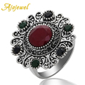 Ajojewel Resin Flower Shaped Vintage Ring Antique Silver Plated Big Rings For Women Ethnic Jewelry