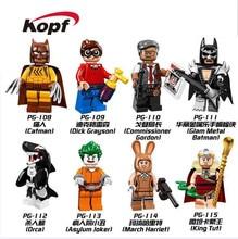 Super Heroes Glam Metal Batman Catman Dick Grayson Orca Commissioner Gordon Bricks Action Building Blocks Children Toys PG8033