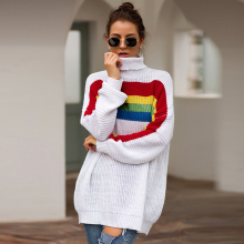 Women Tops Knit Sweater Fashion Rainbow Colorblock Long Sleeve Turtleneck Loose Womens