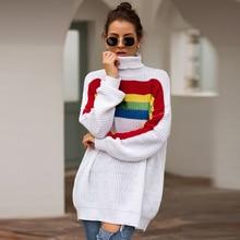 Women Tops Knit Sweater Fashion Rainbow Colorblock Colorblock Long Sleeve Turtleneck Knit Sweater Long Loose Women's Sweater button front colorblock striped rib knit dress