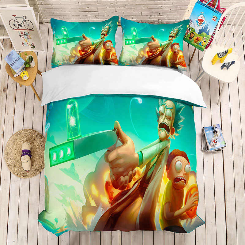 3D Digital Printing   Cartoon Rick and Morty Blue Bedding Set  Character Duvet Cover Set Kids Home Bed Linen Set 3PCS