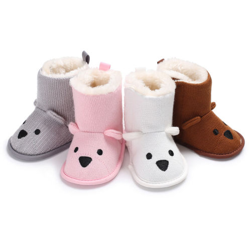 e63f8f70d85 Infantil niños niñas Knit Crochet botas de piel botines niño niños niña  Invierno Caliente rubor nieve suela suave mocasines zapatos en Botas de  Mamá y bebé ...