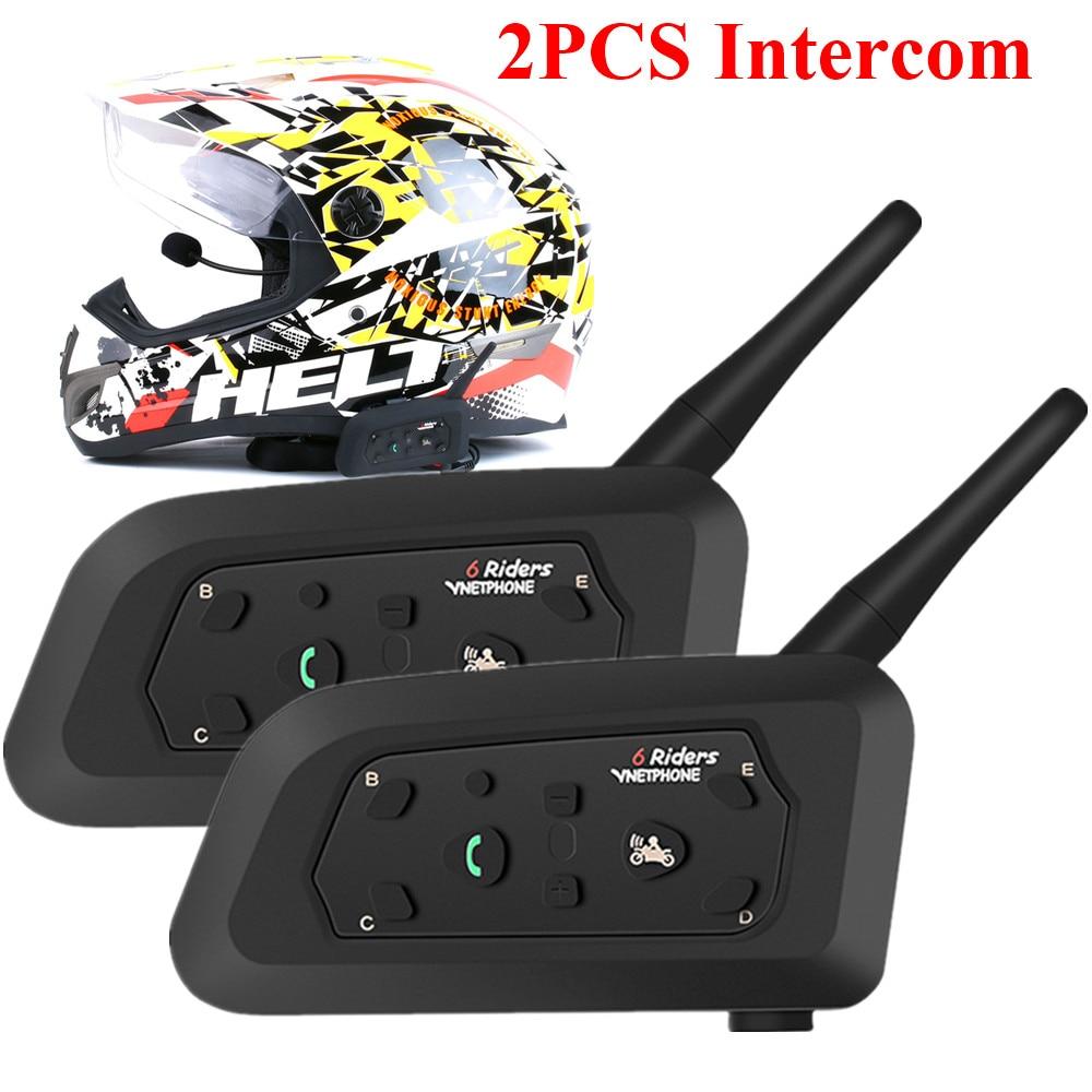 2pcs Multi-function Motorcycle Helmet Intercom 1200m Bluetooth Helmet Headsets For 6 Riders Wireless Intercomunicador Interphone