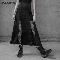 PUNK RAVE Gothic Lolita Girls Fashion Skirt Women Sexy Streetwear Skirt Lace Floral Black Women Evening Party Skirts