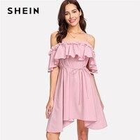SHEIN Flower Applique Cold Shoulder Asymmetric Dress Pink Spaghetti Strap High Waist Belt Plain Dress Women