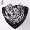 [BYSIFA] Ladies Black Blue Silk Scarf Shawl Fashion Accessories Women Brand Square Scarves Cotton Hemp Female Polyester Scarves