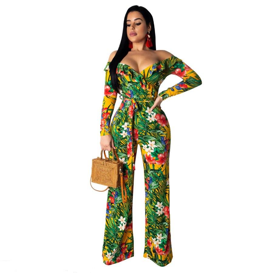 Elegant Floral Print Off Shoulder Jumpsuit Women Casual Long Sleeve Lace Up Bandage Long Pants Jumpsuit Sexy Outwear Overalls
