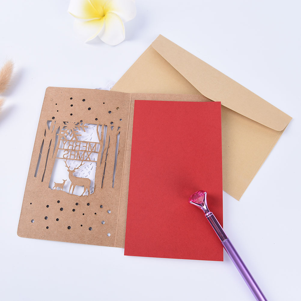 Hollow out kraft paper small card with envelop birthdayholiday size greeting cards app 1710cmenvelopeapp 118188cm package include 1 christmas greeting card envelope kristyandbryce Gallery