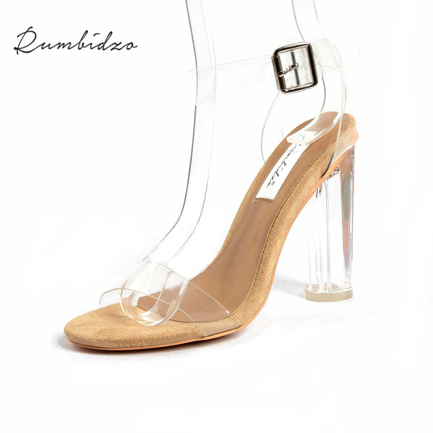 Rumbidzo 2018 PVC Jelly Sandals Women Pumps Open Toe High Heels Ankle Strap Women Transparent Perspex Thick Heel Clear Sandalias