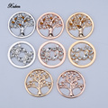Ventas bajas 33mm disco moneda fit 35mm monedas holder Collar Colgante DIY accesorios de la joyería redonda de cristal del árbol de navidad