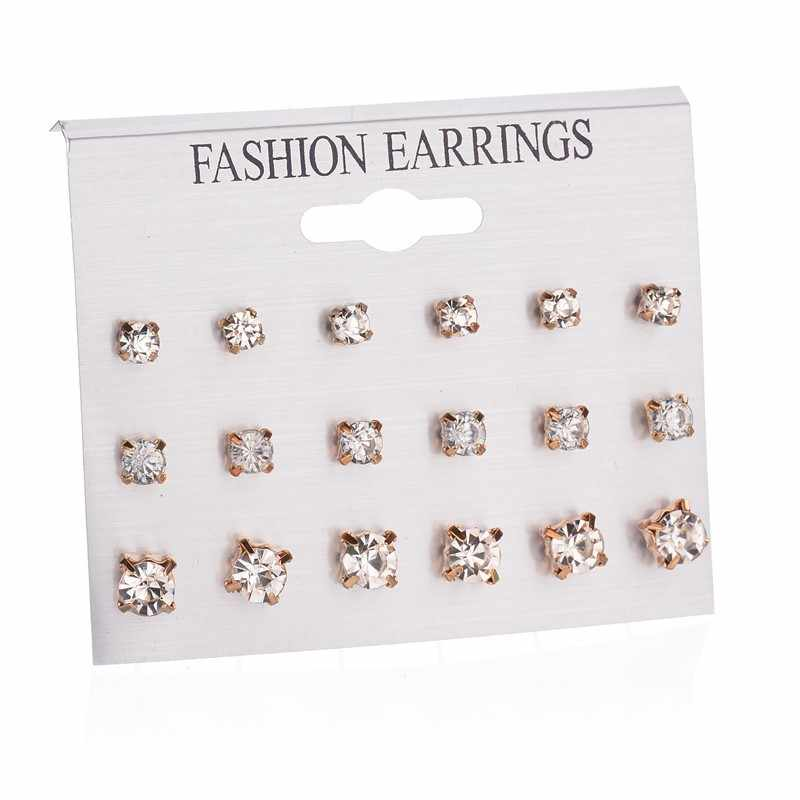Black Card 12 pairs Women Round Crystal Flower Stud Earrings for Women Piercing Imitation Pearl Earrings Set Wedding Party Gift