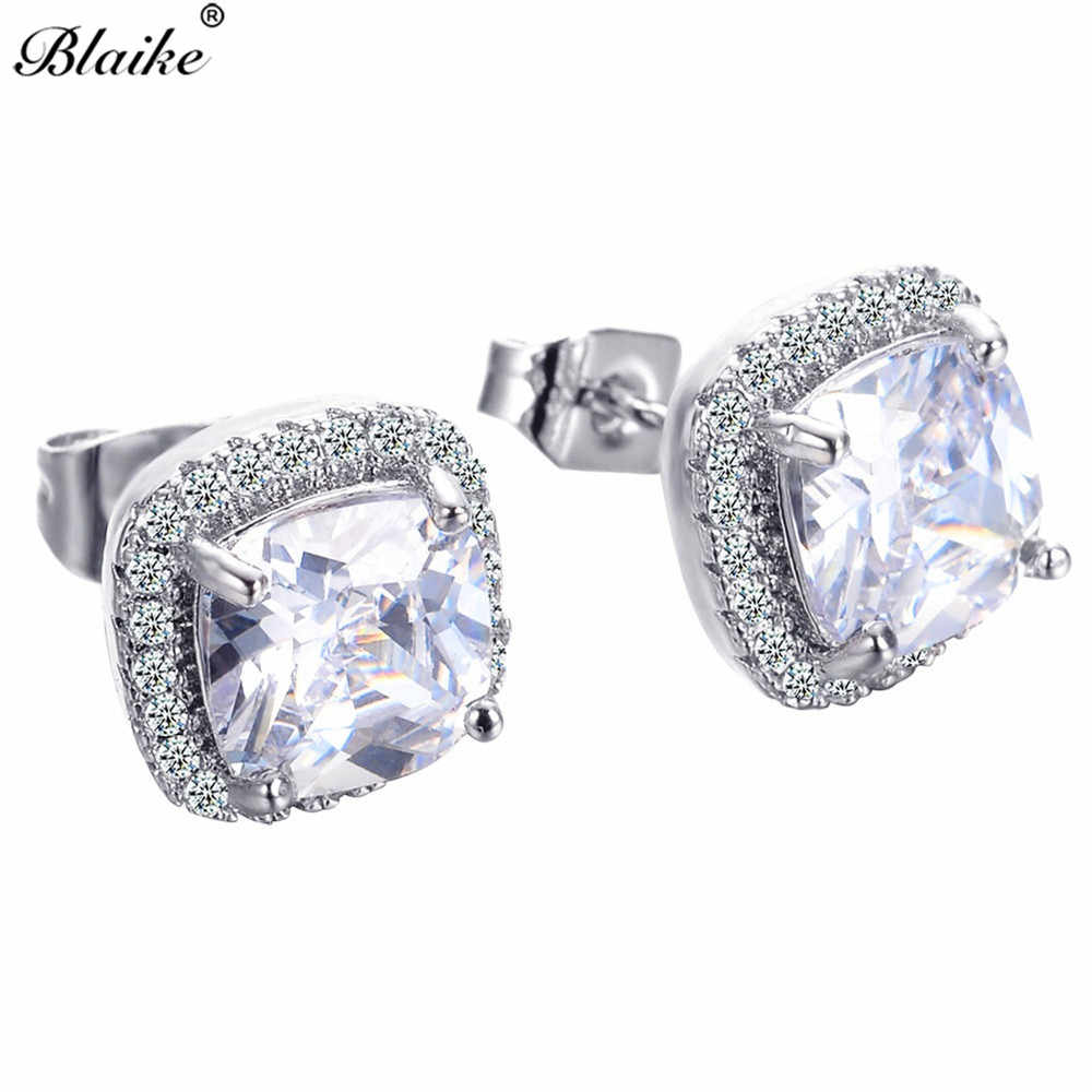 Blaike Fashion Square Zircon 925 Sterling Silver Filled Stud Earrings For  Women Colorful White  fa733afc0c08