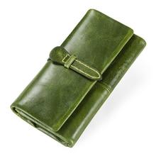 Купить с кэшбэком Genuine Leather Women Wallets Female Long Clutch Wallet Brand Money Bag For Ladies Zipper Coin Purse Portomonee Card Holder