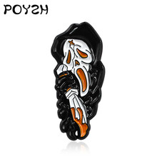 Screaming Skeleton Black Robe Ghost Brooch Enamel Pin Horror Holding Knife Death Gothic Badge Pin kids Halloween Gift Jewellery(China)