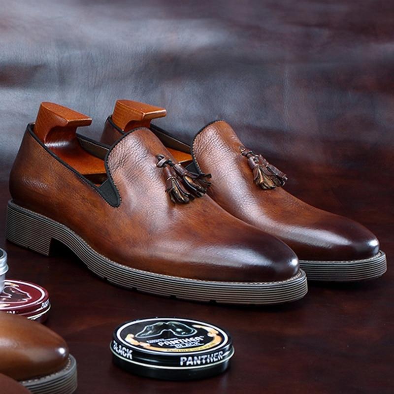 Vintage Round Toe Man Casual Retro Shoes Natural Genuine Leather Slip on Men's Office Loafers Tassels Platform Footwear BGQ142