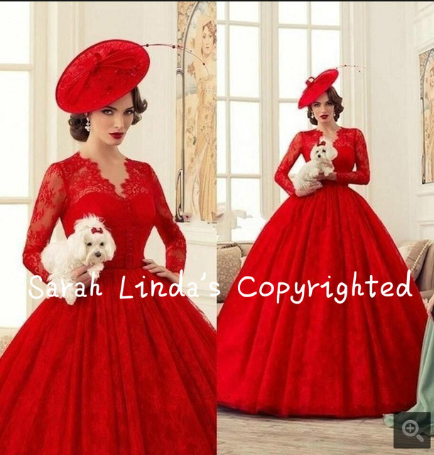 9e79b6c98bbd9 US $248.0 |Victorian Red Lace Long Sleeves Wedding Dresses Ball Gown  wedding dress Dubai Arabic Bridal Wedding Gowns Vestidos De Novia-in  Wedding ...