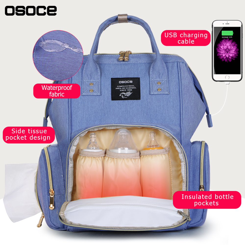 Fashion Baby bags for Mom with USB Baby Diaper Bag Mom Multifunctional Waterproof Mummy Nappy Nursing Bag travel backpack