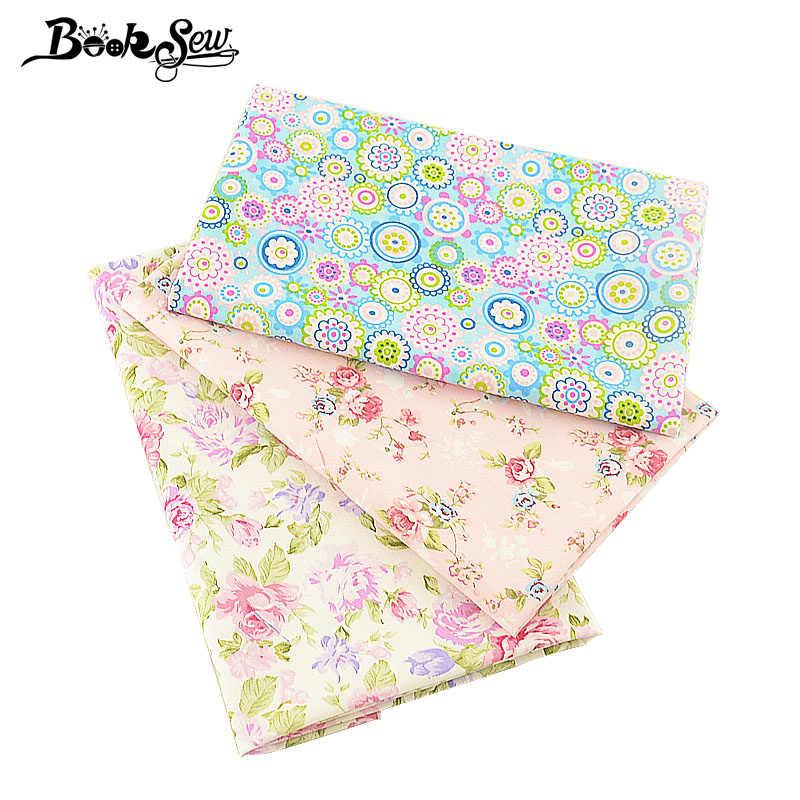 Decoración textil para el hogar 3 unids/lote 40cm x 50cm tela de bebé 100% tela de algodón precioso estampado de flores vestido de cuarto grueso acolchado medidor