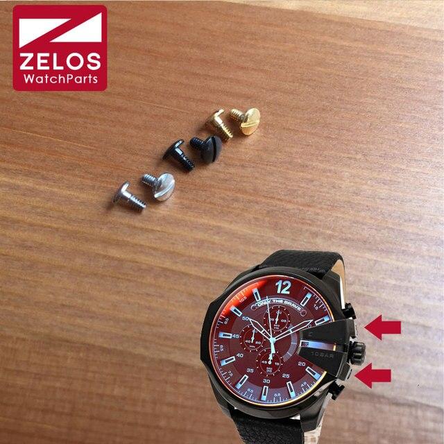 b7d1539e7d0b6 2piece set DZ watch screws for diesel Chronograph man watch crown bridge  protect guard watch