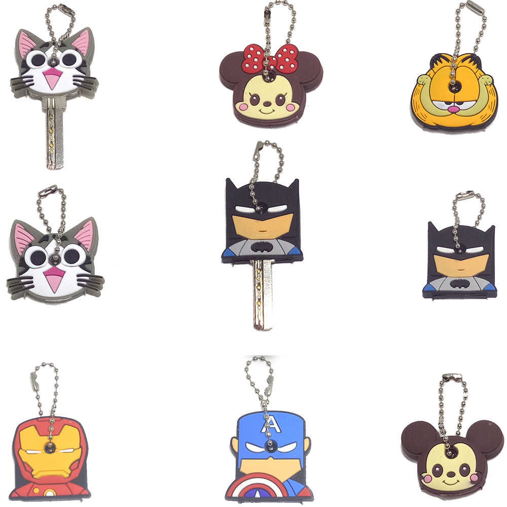 Cute Cartoon Mickey Emoji The Avenger Silicone Keychain For Women/Man Key Cover Key Caps Key Ring Key Holder Kids Gift