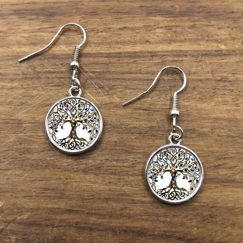 Glass Picture Pendant Earrings Tree Of Life Earrings Glass Pendant For Women jewelry gifts