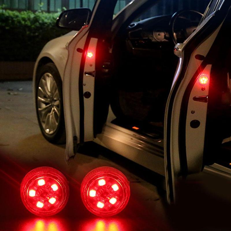 2pcs Car Opening Door Warning Lights LED Car Door Alarm Signal Light Wireless Waterproof Anti Rear-end Collision Lamps Car Light