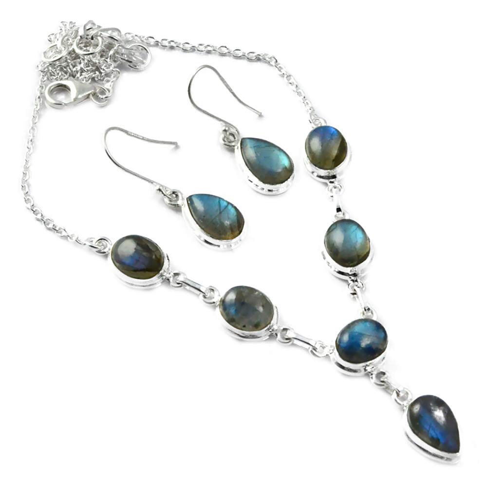 Genuine Labradorite Necklace + Earrings Necklace set 925 Sterling Silver,50 cm, MHBNE0112