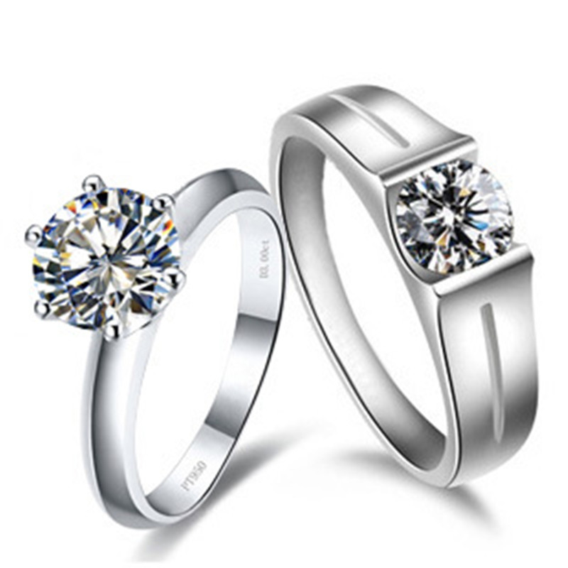 Solid 14k 585 white gold couple rings solitaire style his for Jewelry storm arrow ring