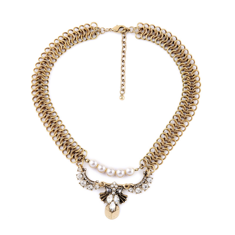 New Arrival Necklace For Women Simulated Pearl Chunky Vintage Gold Color Pendants Noble Statement For Masquerade
