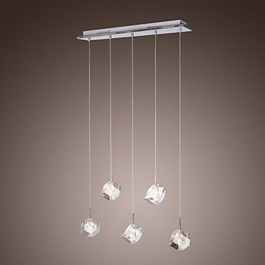 Luminaire LED Modern K9 Crystal Bar Pendant Light Lamp with 5 Lights,Lustres e Pendentes Free Shipping best price 3pc set lighting crystal lamp modern brief led pendant lamp creative crystal pendant lamp bar light free shipping